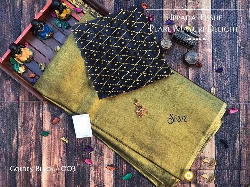 PURE Tissue SILK SAREE with Pearl Blouse(003Golden_Black)