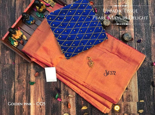 PURE Tissue SILK SAREE with Pearl Blouse(005GoldenPink_Blue)