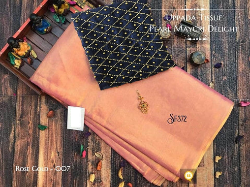 PURE Tissue SILK SAREE with Pearl Blouse(007RoseGold_Black)