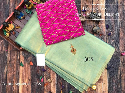 PURE Tissue SILK SAREE with Pearl Blouse(009AquaBlue_Pink)