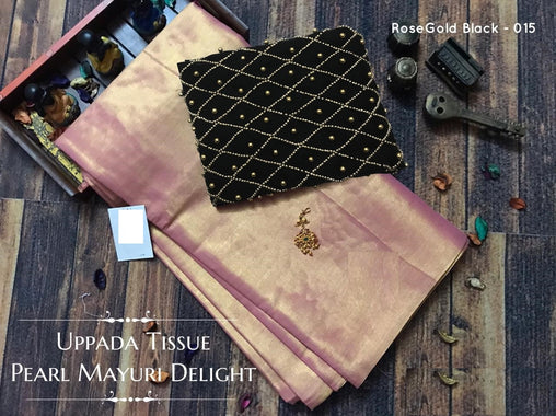 PURE Tissue SILK SAREE with Pearl Blouse(015RoseGolden_Black)