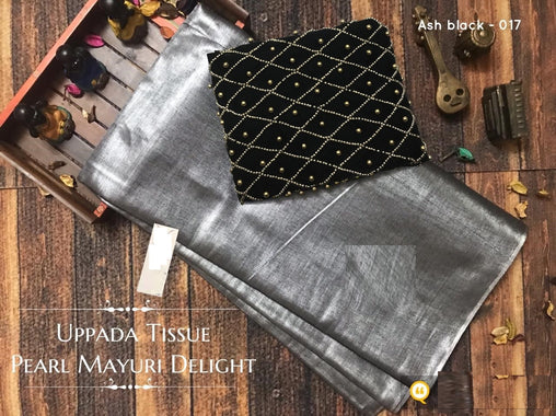 PURE Tissue SILK SAREE with Pearl Blouse(017AshBlack_Black)