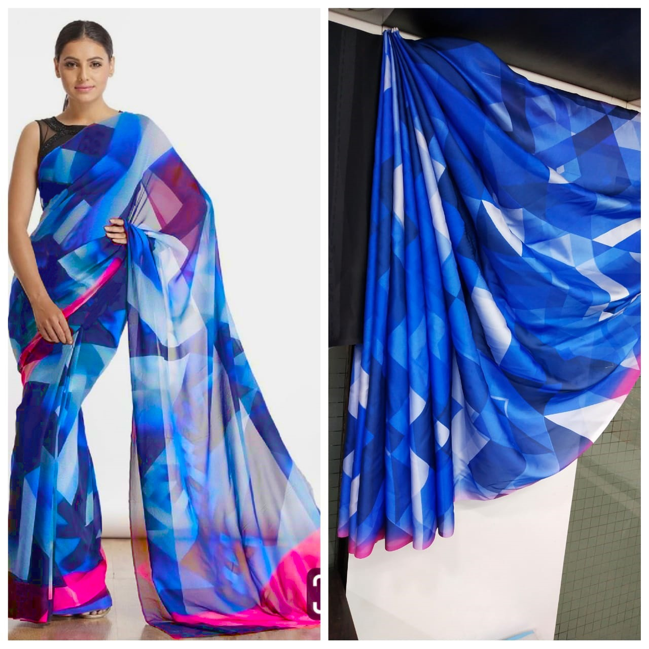 Imported Silk Satin crepe SAREE (Pink,Blue)