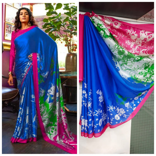 Imported Silk Satin crepe SAREE (Blue,Red)
