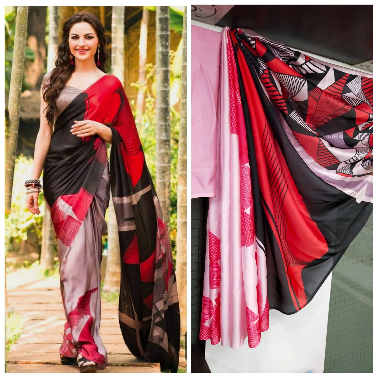 Imported Silk Satin crepe SAREE (Red,Pink)