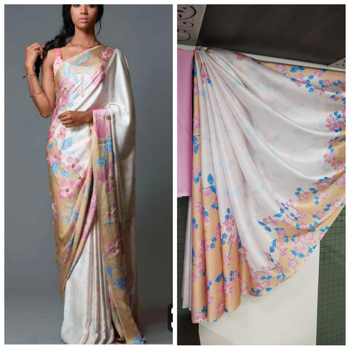 Imported Silk Satin crepe SAREE (White,Pink)