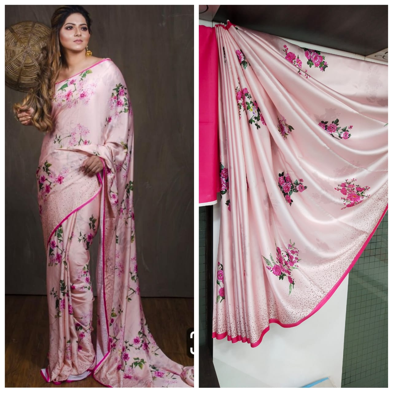 Imported Silk Satin crepe SAREE (Pink)