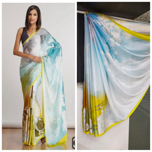 Imported Silk Satin crepe SAREE (Green,White)