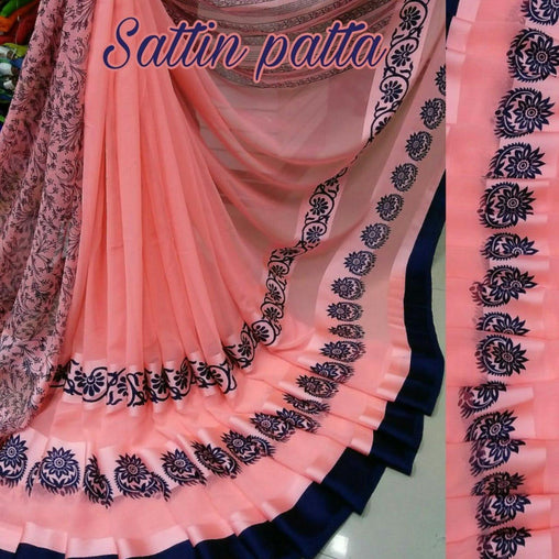 Satin Patta Saree with Blouse Piece (Pink)