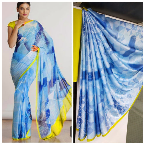 Imported Silk Satin crepe SAREE (Blue.Yellow)