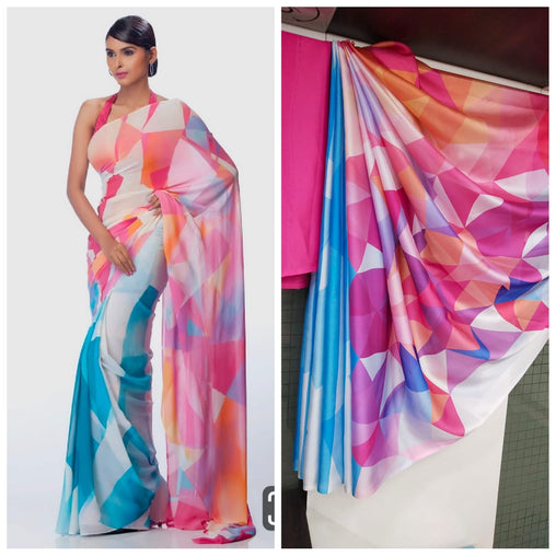 Imported Silk Satin crepe SAREE (Blue,Pink)