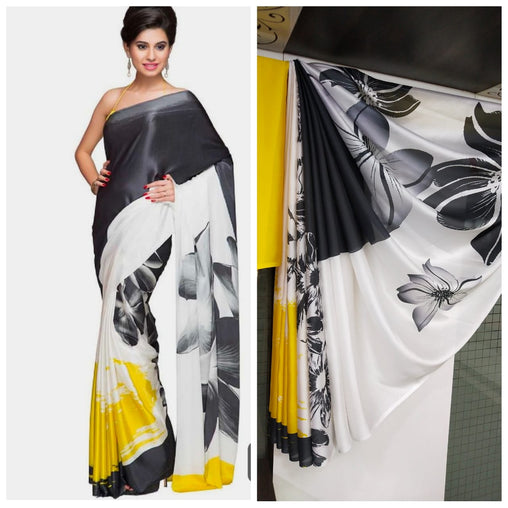 Imported Silk Satin crepe SAREE (Black,White)