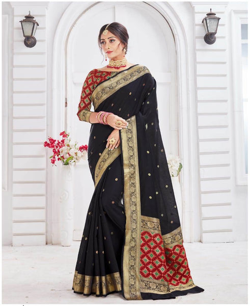 SILK SAREE For Women(Black)