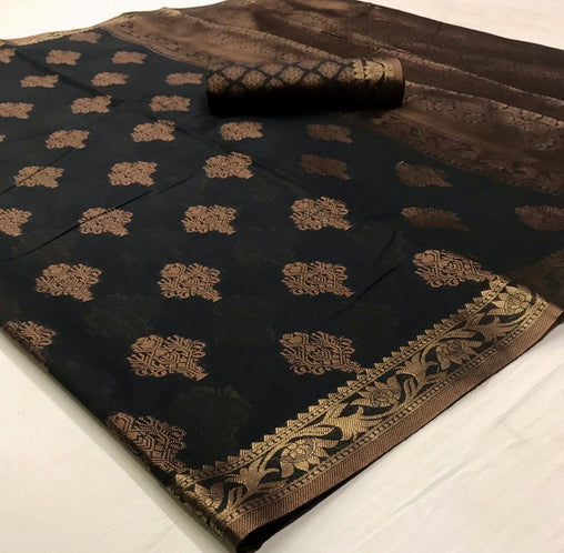 Soft Cotton Weaving SAREE(Black)