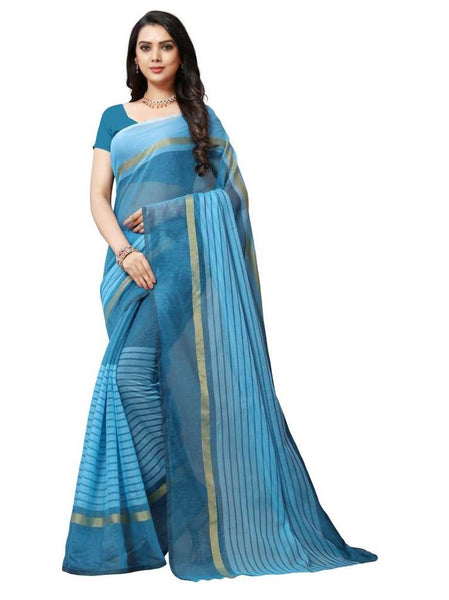 SAREE with Blouse Piece(Blue)