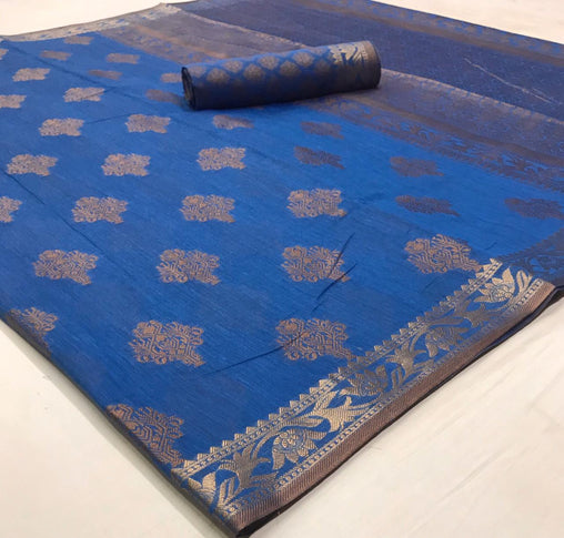 Soft Cotton Weaving SAREE(Blue)