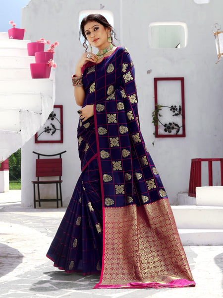 Beautiful Silk Saree(DarkBlue)