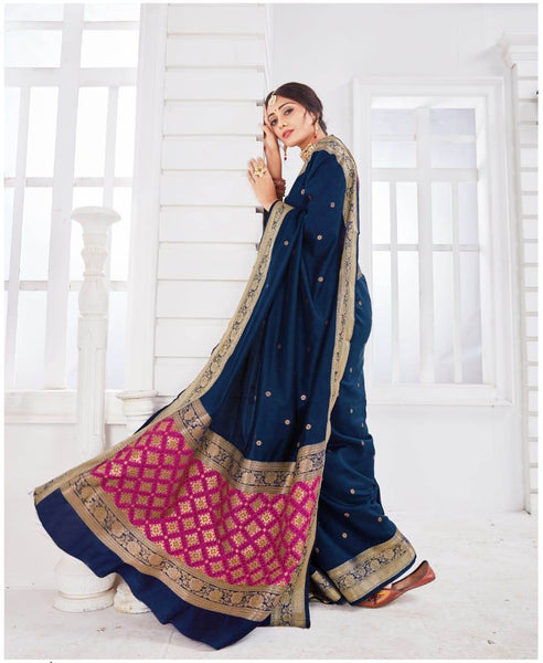 SILK SAREE For Women(Blue)