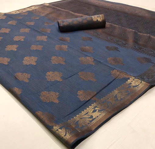 Soft Cotton Weaving SAREE(DarkBlue)