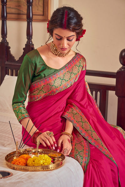 Rangoli Silk Saree(DarkRed)