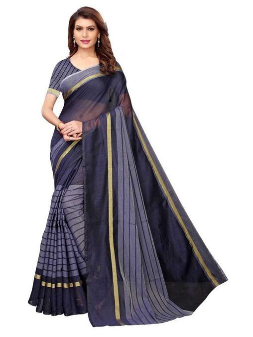 SAREE with Blouse Piece(Dark_Blue)