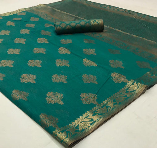 Soft Cotton Weaving SAREE(Green)