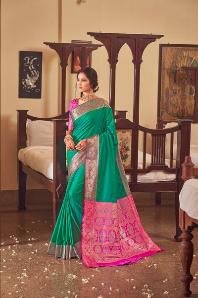 Rangoli Silk Saree(Green)