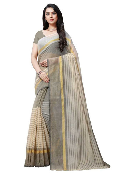 SAREE with Blouse Piece(Grey)