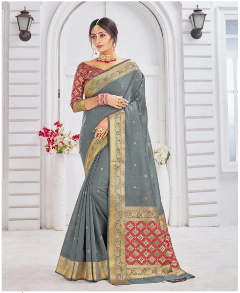 SILK SAREE For Women(Grey)