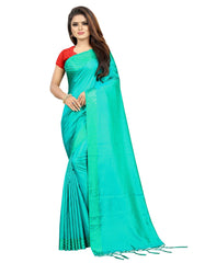 Sana Silk SAREE with Blouse Piece (Light Blue)
