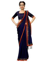 Rangoli Silk SAREE with Blouse Piece (Dark Blue)