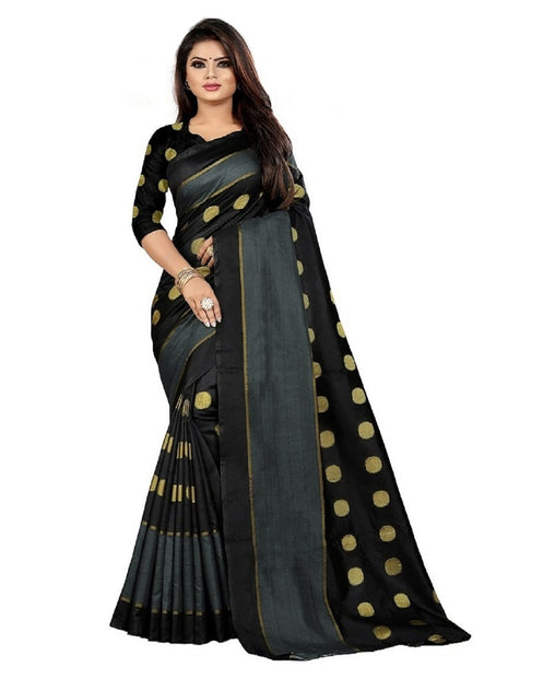 COTTON Silk SAREE with Blouse Piece (Black)