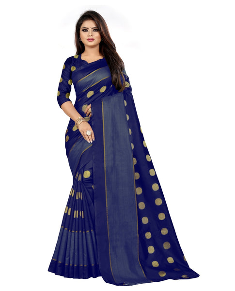 COTTON Silk SAREE with Blouse Piece (Blue)