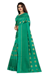 COTTON Silk SAREE with Blouse Piece (Green)