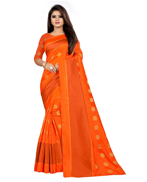 COTTON Silk SAREE with Blouse Piece (Orange)