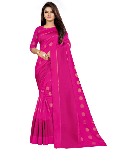COTTON Silk SAREE with Blouse Piece (Pink)