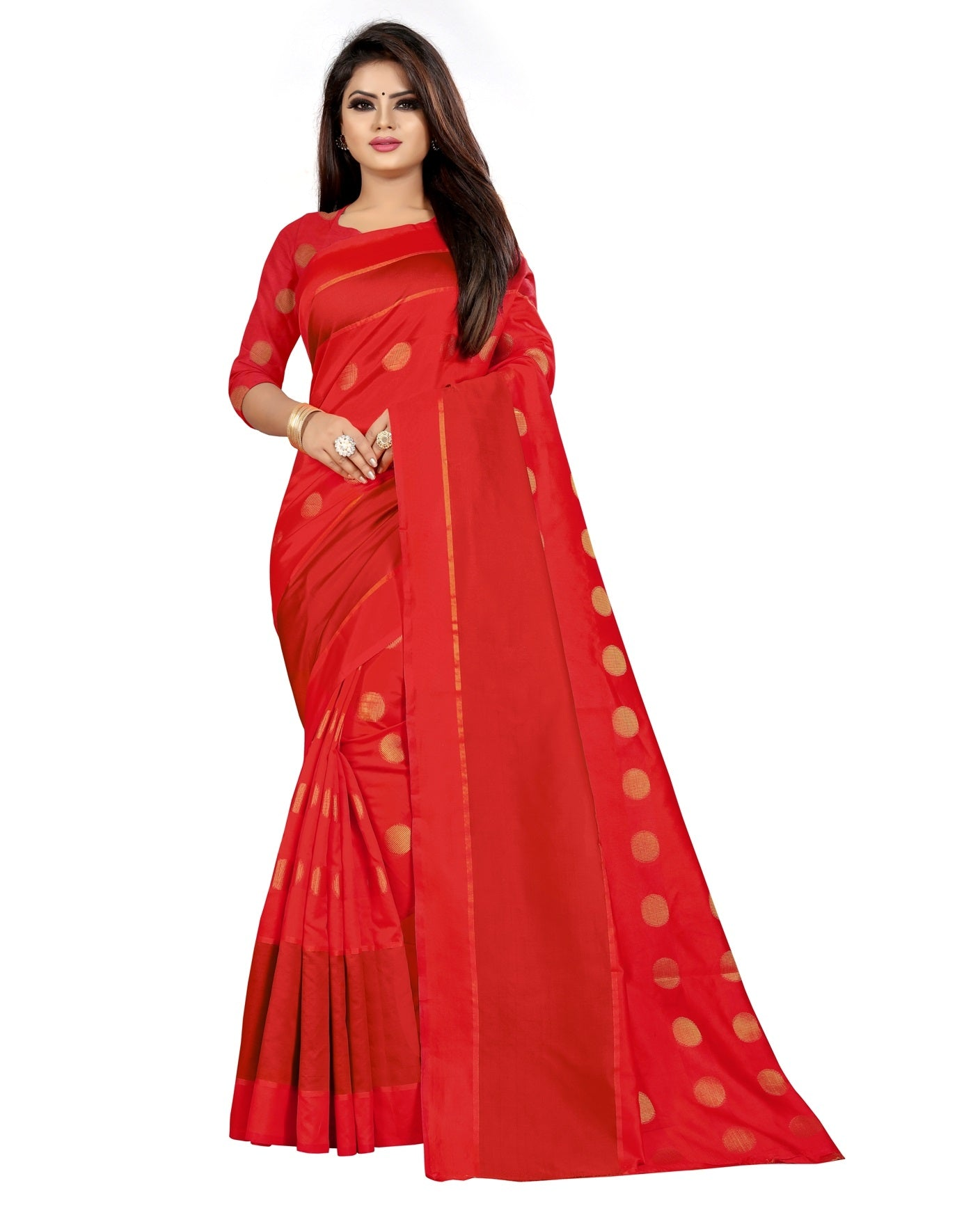 COTTON Silk SAREE with Blouse Piece (Red)