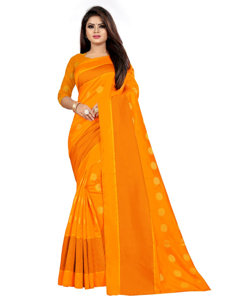 COTTON Silk SAREE with Blouse Piece (Yellow)