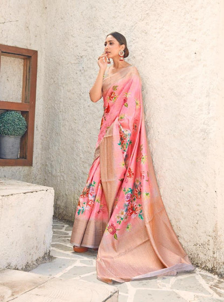Digital SILK SAREE For Women(Light Pink)
