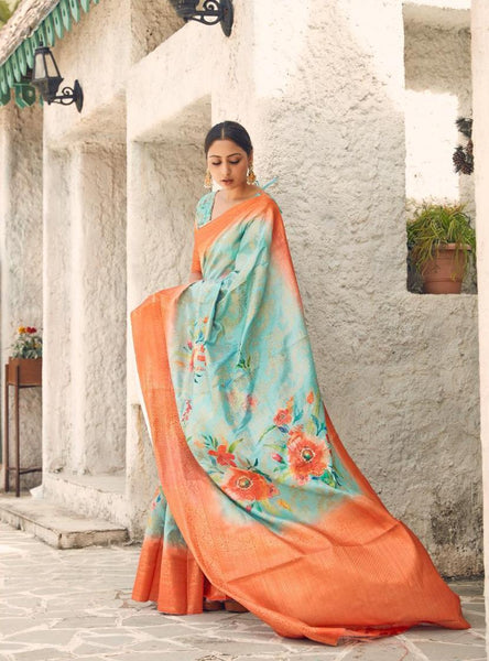 Digital SILK SAREE For Women(Orange)