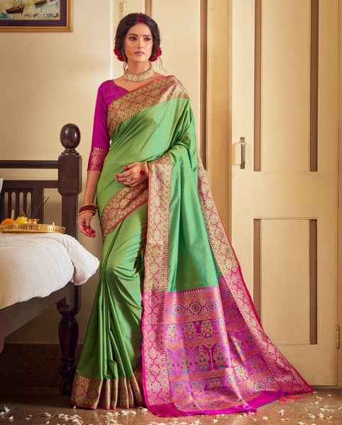Rangoli Silk Saree(ParrotGreen)