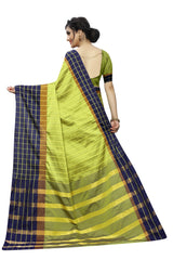 Party wear SAREE with Blouse Piece(chexGreen)