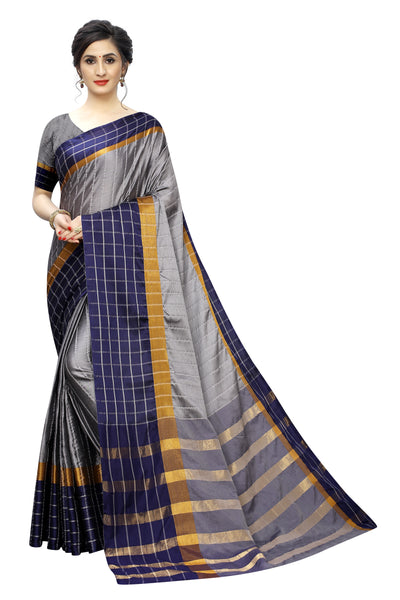 Party wear SAREE with Blouse Piece(chexGrey)