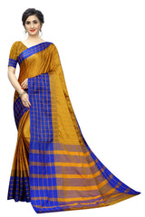 Party wear SAREE with Blouse Piece(chexYellow)