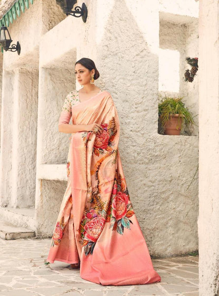 Digital SILK SAREE For Women(Rose Pink)