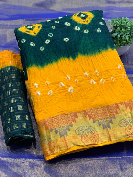Pure Bandhej SAREE(Yellow_Green)