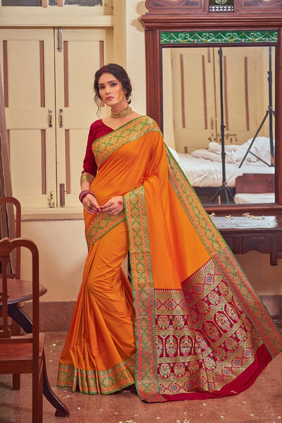 Rangoli Silk Saree(Yellow)