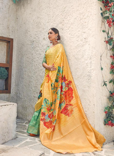 Digital SILK SAREE For Women(Yellow)