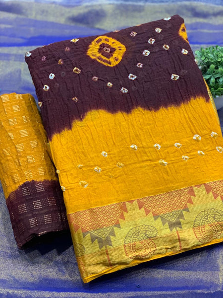 Pure Bandhej SAREE(Yellow_Maroon)
