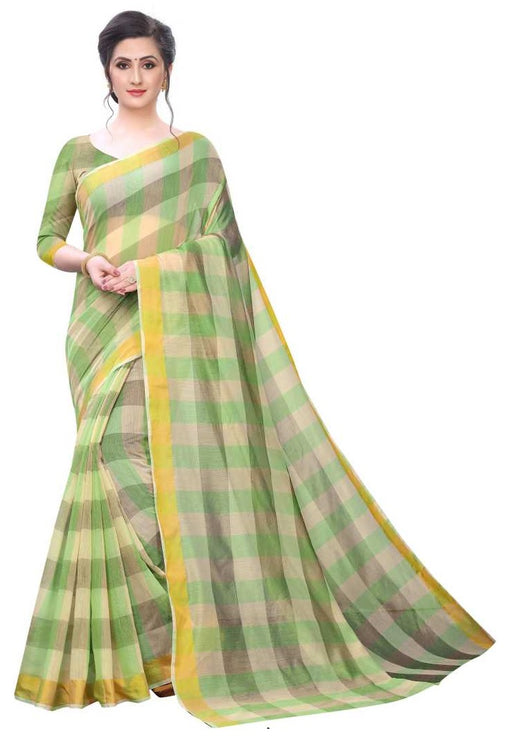COTTON SAREE with Blouse Piece(Green)